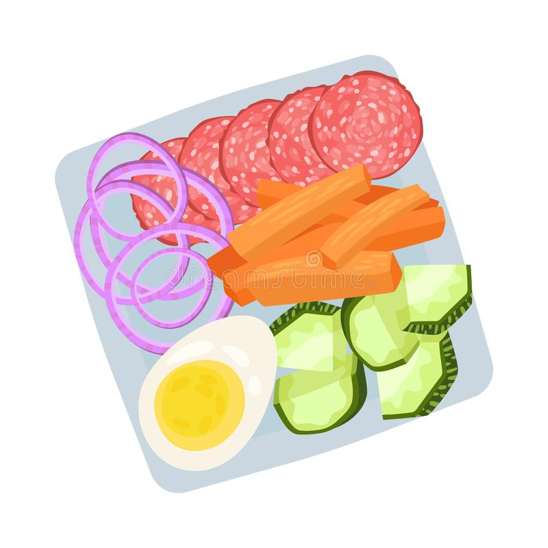 Square plate with chopped sausage and vegetables. Vector illustration. Square plate with chopped sausage, boiled egg, onion rings, slices of carrots and royalty free illustration