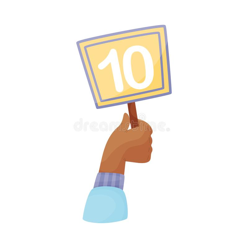 Square plate with number 10 in hand. Vector illustration on a white background. Hand in a blue sleeve holds a yellow square plate with the number 10. Vector stock illustration