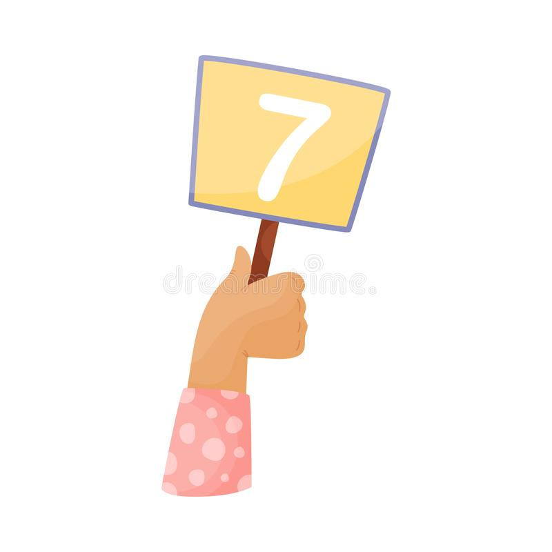 Square plate with number 7 in hand. Vector illustration on a white background. Hand in a pink sleeve holds a square orange plate with the number 7. Vector vector illustration