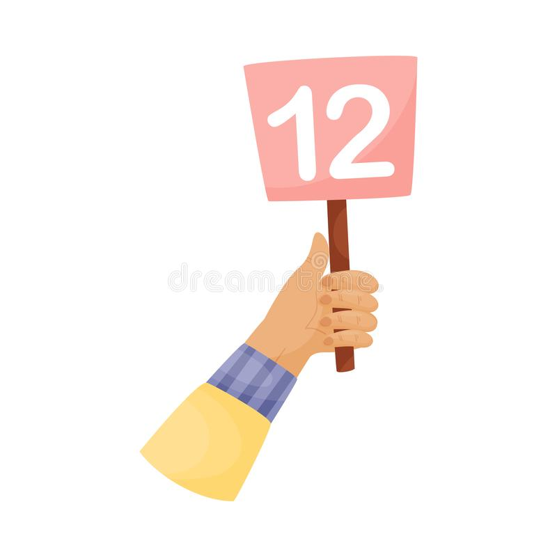Square plate with the number 12 in hand. Vector illustration on a white background. Hand in a yellow sleeve holds a pink square plate with the number 12. Vector vector illustration
