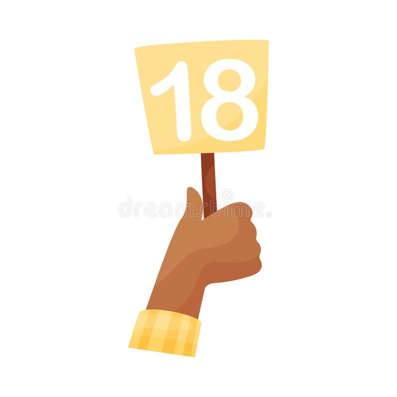 Square plate with the number 18 in hand. Vector illustration on a white background. Hand in a yellow sleeve holds a square plate with the number 18. Vector vector illustration