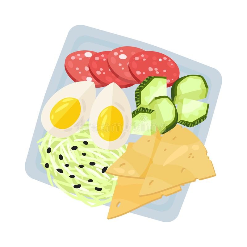 Square plate with boiled egg and slices of cheese. Vector illustration. Square plate with sliced boiled egg, cheese, sausage, cucumber and cabbage. Vector stock illustration
