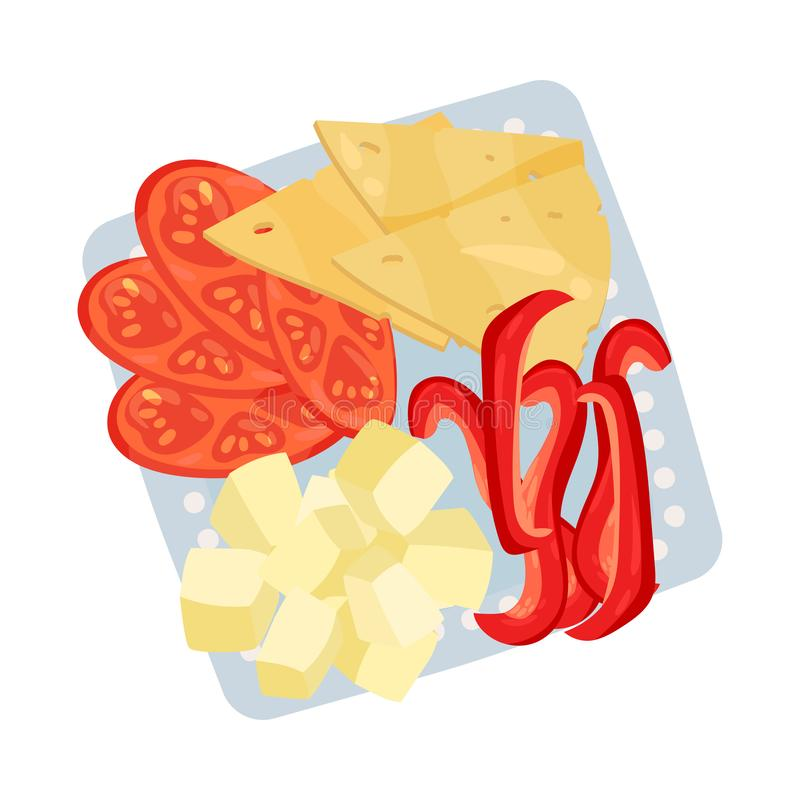 Square plate with sliced vegetables and cheese. Vector illustration. Square plate with sliced and diced cheese, chopped tomatoes and red pepper. Vector vector illustration