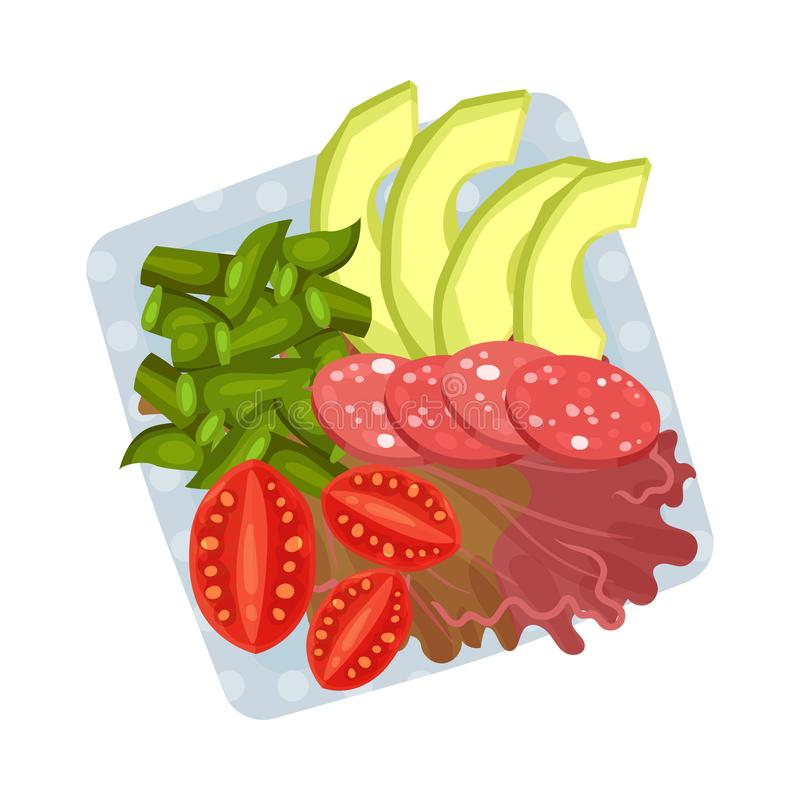 Square plate with sliced sausage and chopped vegetables. Vector illustration. Square plate with sliced sausage, chopped tomatoes and asparagus on a red lettuce royalty free illustration