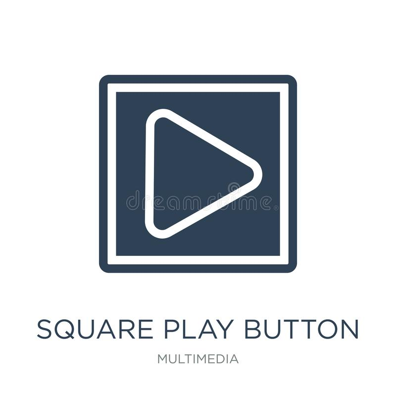square play button icon in trendy design style. square play button icon isolated on white background. square play button vector royalty free illustration