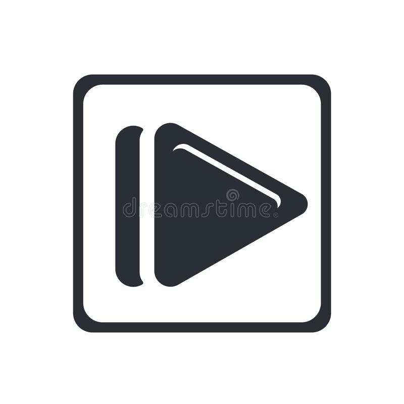 Square Play Button icon vector sign and symbol isolated on white background, Square Play Button logo concept stock illustration