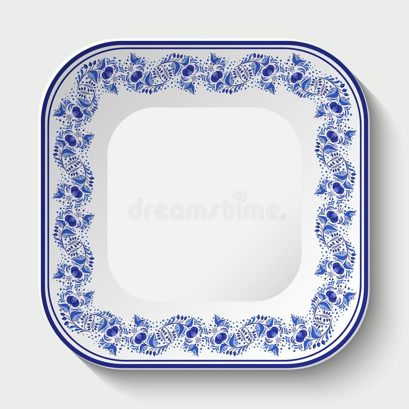 Square porcelain plate with a blue pattern in the style of national porcelain painting Gzhel. Vector illustration royalty free illustration