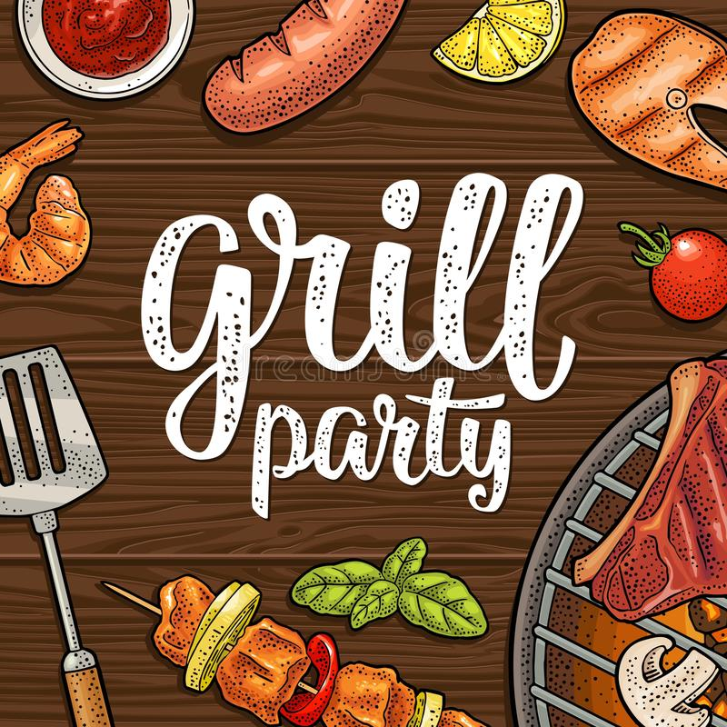 Square poster with bbq. Grill party calligraphic handwriting lettering. Bbq square poster. Grill party calligraphic handwriting lettering. Shrimp, tomato, pepper vector illustration