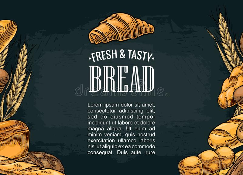 Square poster with bread. Vector color vintage engraving illustration royalty free illustration
