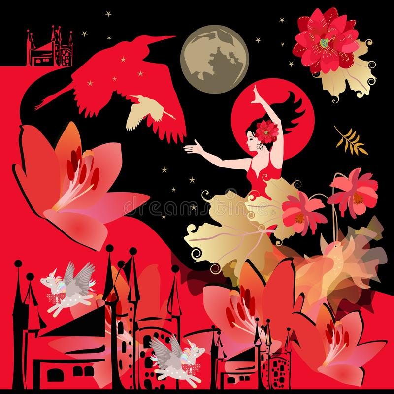 Square poster or shawl with magical pattern. Girl flamenco dancer, fairytale winged birds, unicorns, castles, flowers vector illustration