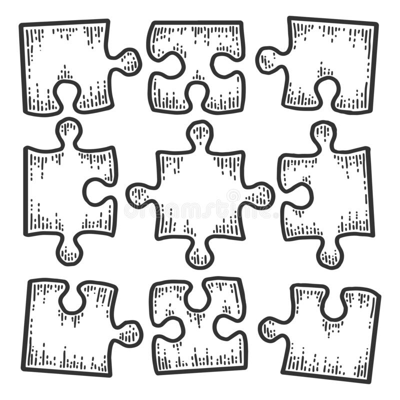Free Square Puzzle Icon. Not Assembled Nine Pieces. Sketch Scratch Board Imitation. Royalty Free Stock Photo - 181094085