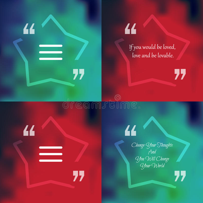 Square quote text bubble. Template of square quote text bubble in form of star. Motivation quote. Change Your Thoughts And You Will Change Your World. Vector vector illustration