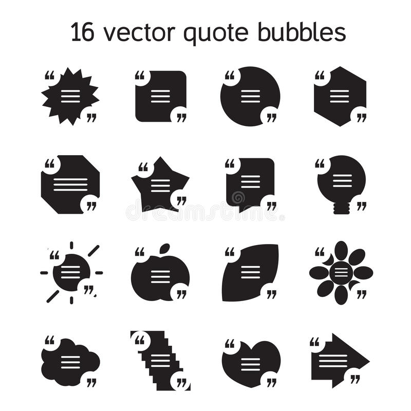 Square quote text bubbles set. Set of templates of square quote text bubble in various views. Motivation quote. Vector stock illustration