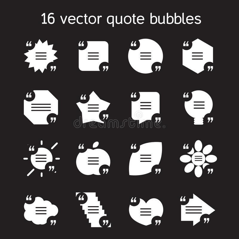 Square quote text bubbles set. Set of templates of square quote text bubble in various views. Motivation quote. Vector royalty free illustration