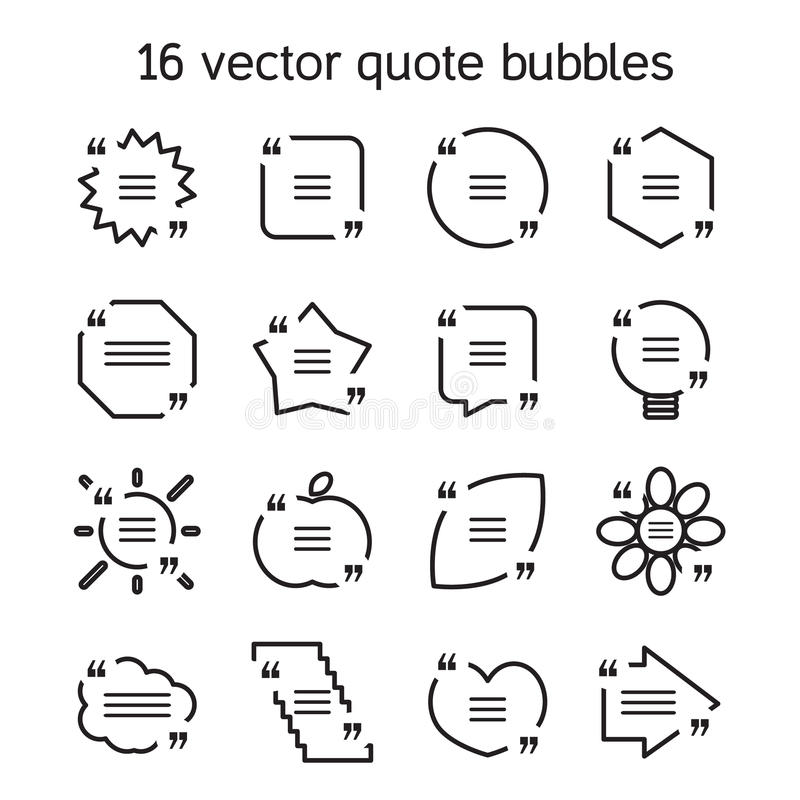 Square quote text bubbles set. Set of templates of square quote text bubble in various views. Motivation quote. Vector vector illustration