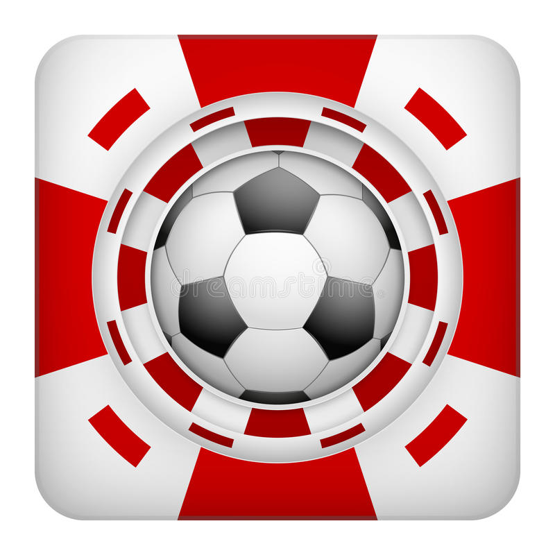 Square red casino chips of soccer sports betting. Square tote symbol red casino chips of sports betting with soccer ball. Bright bookmaker icon of gambling vector illustration