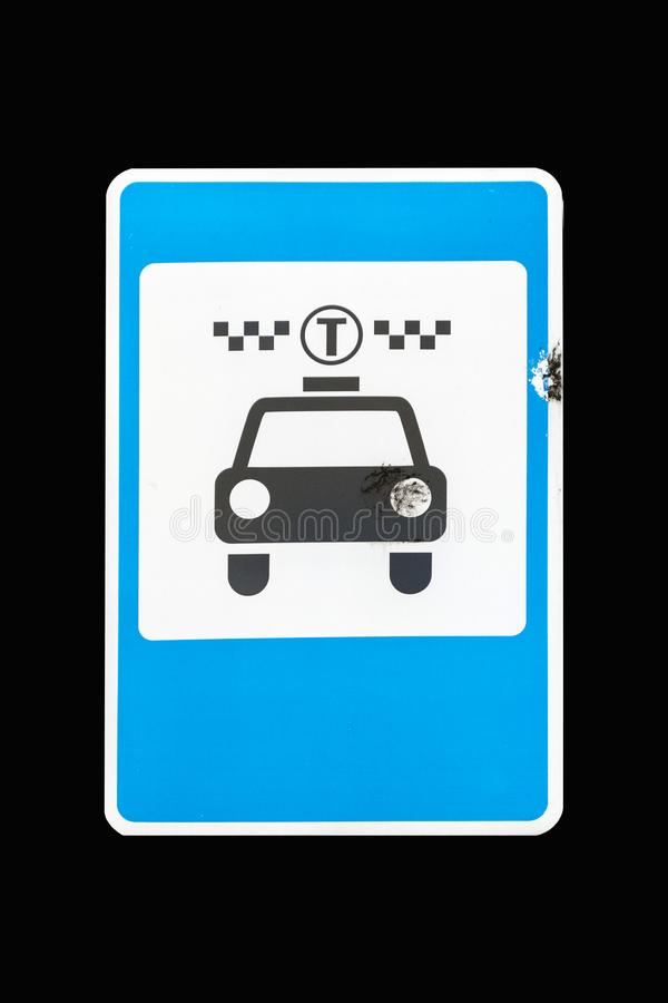 Square road sign Taxi Cab isolated on black.  vector illustration