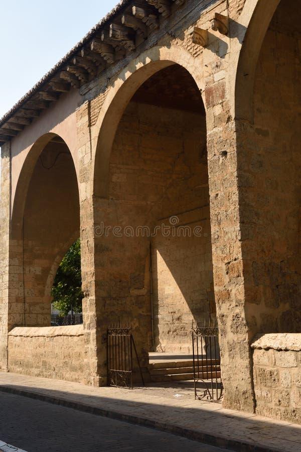 Square and Romanesque church of Satiago, Carrion de los Condes, Palencia province stock photos