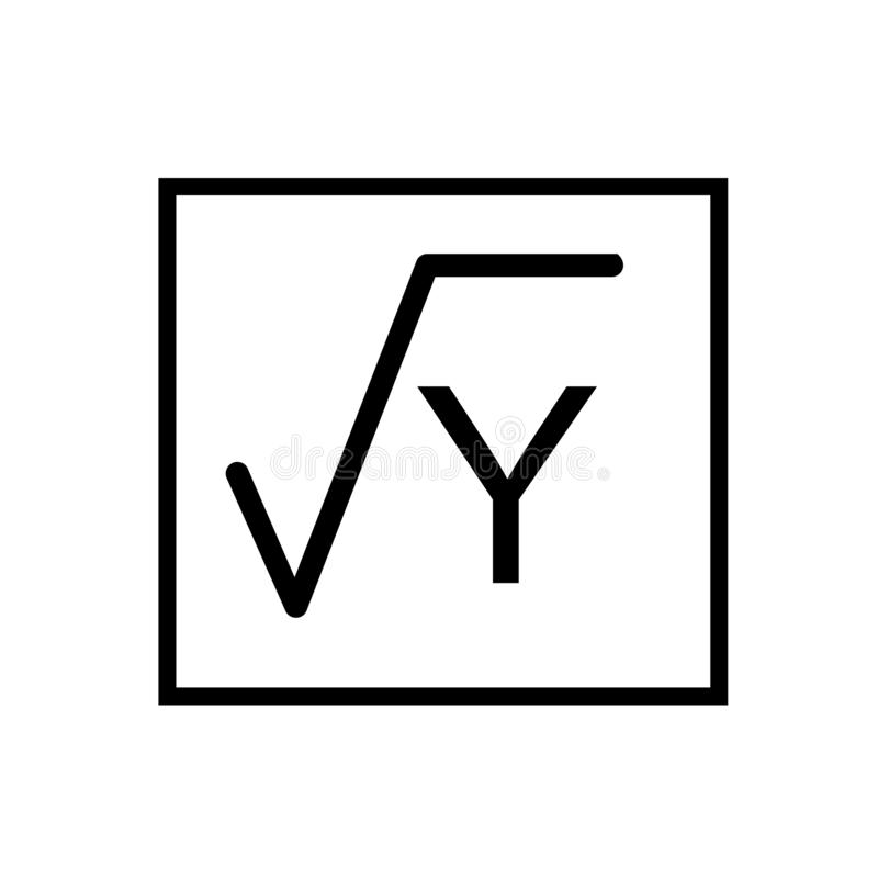 Square Root In Class icon vector isolated on white background, Square Root In Class sign , linear symbol and stroke design stock illustration
