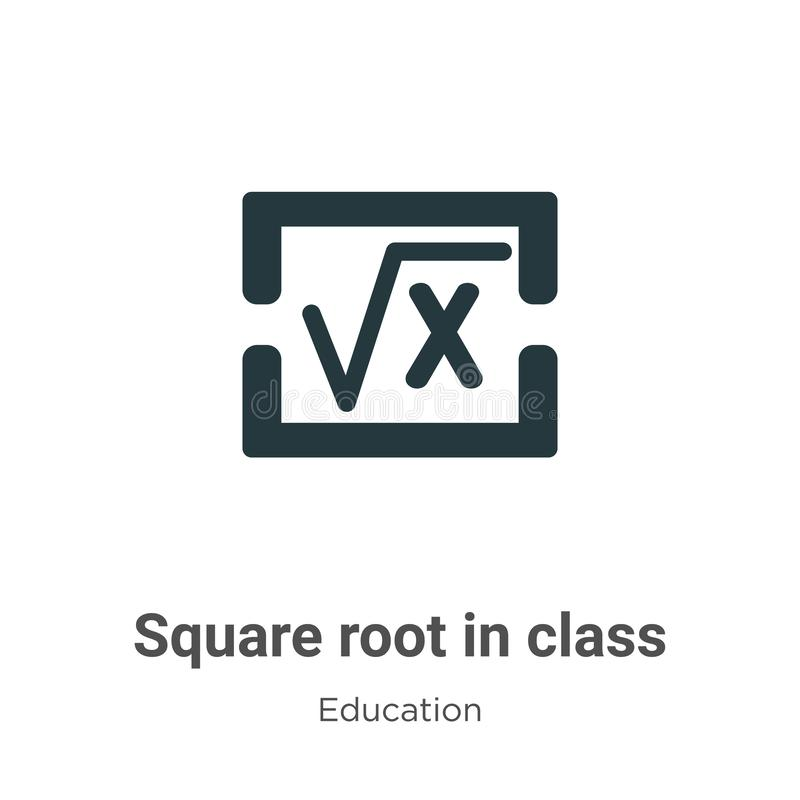 Square root in class vector icon on white background. Flat vector square root in class icon symbol sign from modern education stock illustration