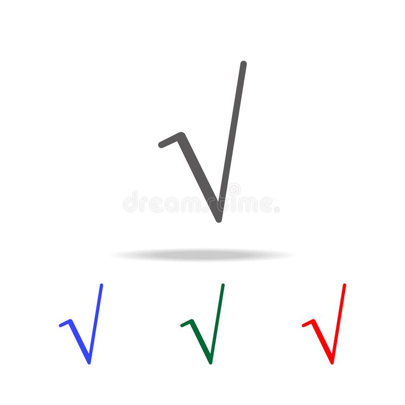 Square Root Symbol Icon Elements In Multi Colored Icons For Mobile