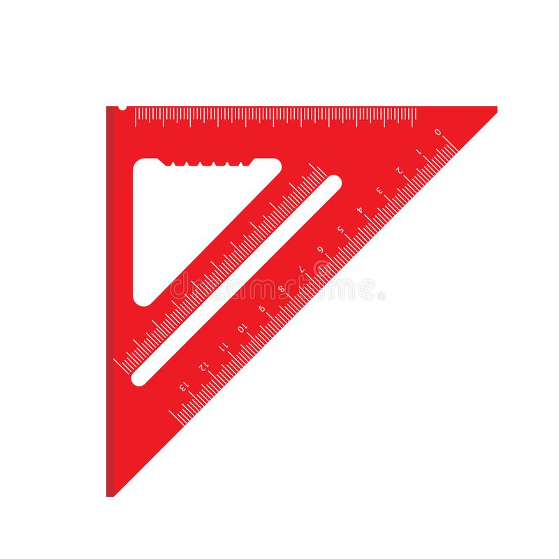 Square ruler red sign geometric vector icon engineering element triangle. School flat measure tool equipment instrument royalty free illustration