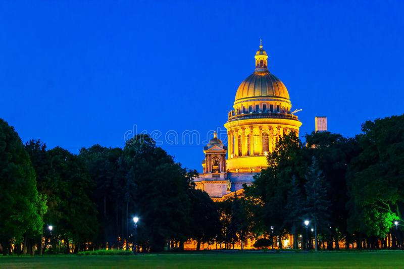 Square Saint Isaac`s Cathedral in Saint Petersburg summer evening or white nights. Blue sky background. stock images
