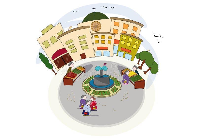 Square scene in Italy vector illustration