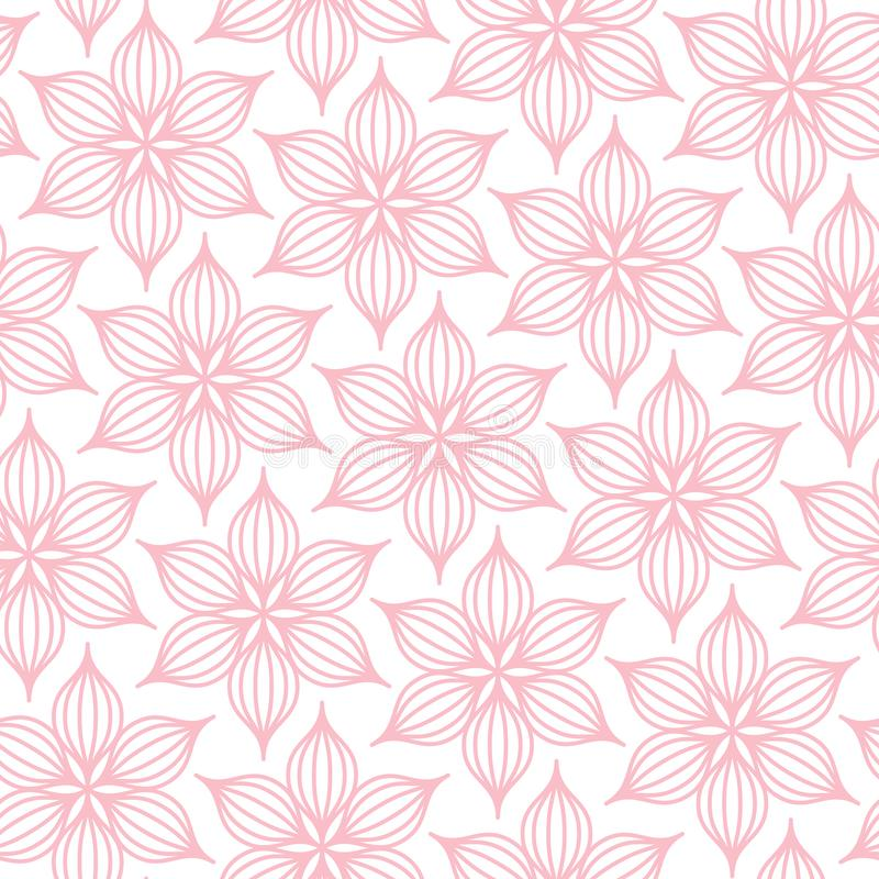 Seamless Pattern Big Flowers Line Pink And White stock illustration