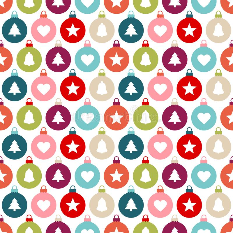 Seamless Pattern Graphic Christmas Balls Different Icons Color vector illustration