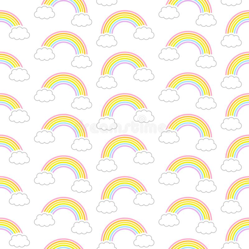 Seamless Pattern Graphic Diagonal Rainbows And Clouds vector illustration