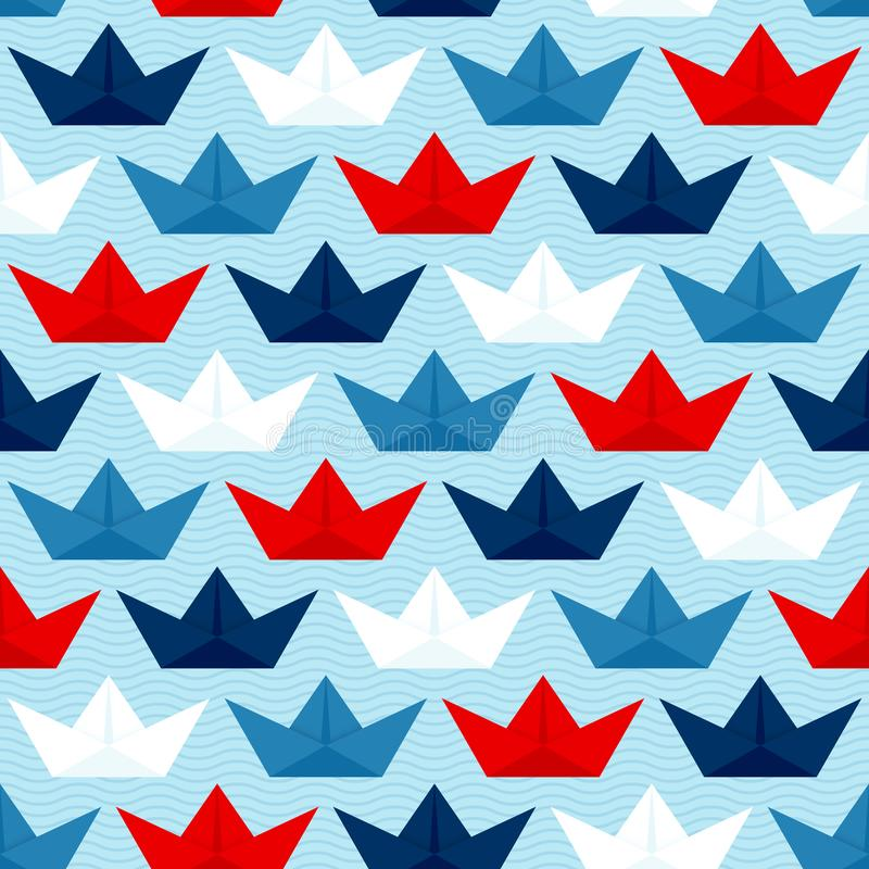 Seamless Pattern Paper Boats Waves Blue Red White stock illustration