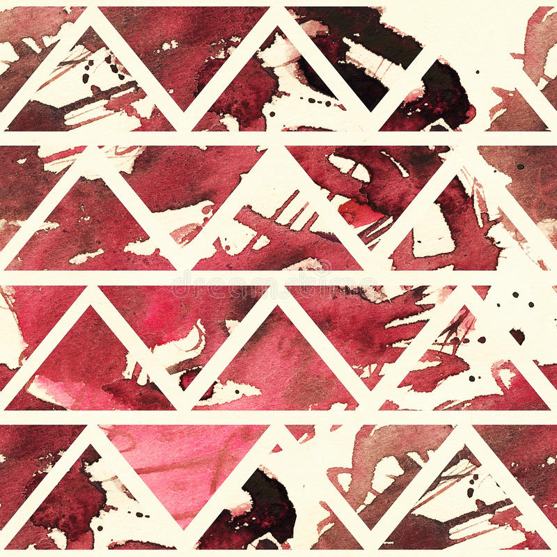 Square seamless texture with red and dark red freehand brush splashes and spots in geometric triangles pattern on beige background vector illustration