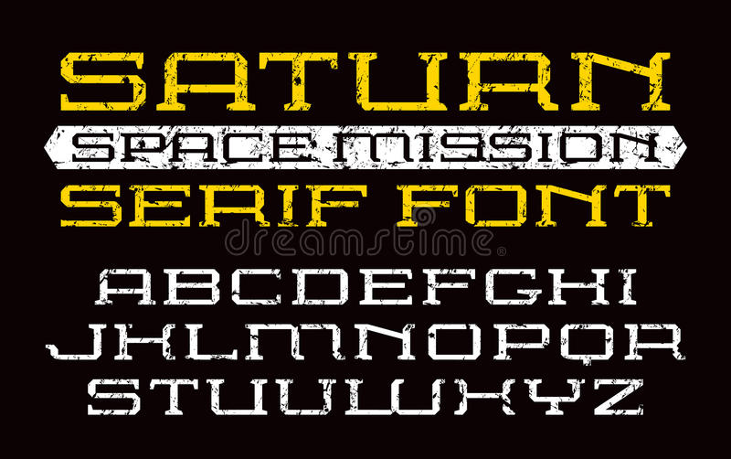 Square serif font in computer style stock illustration