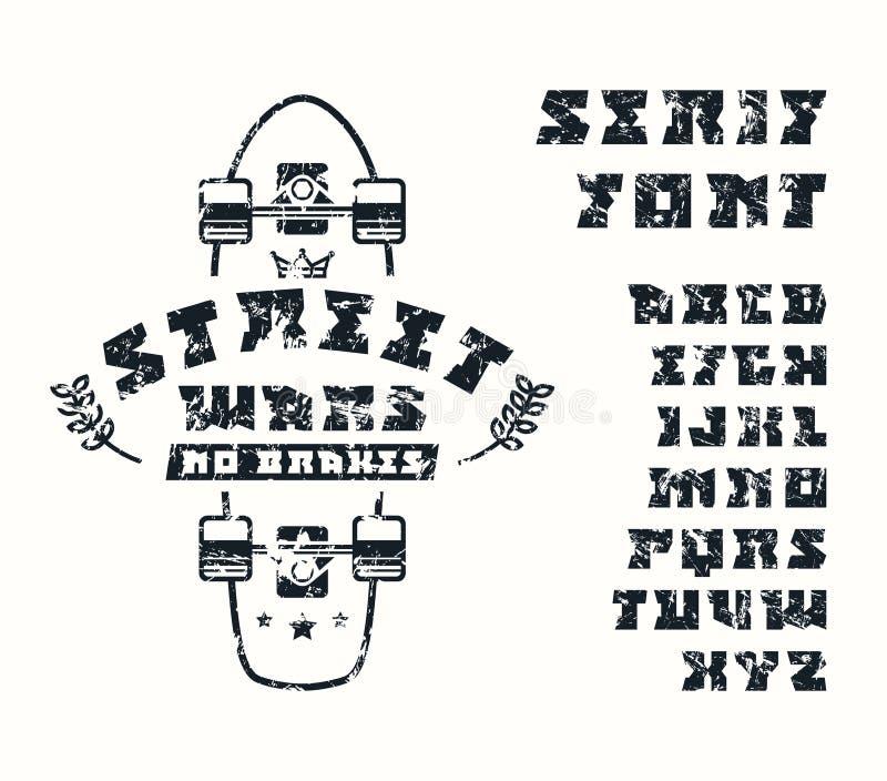 Square serif font and longboard emblem vector illustration
