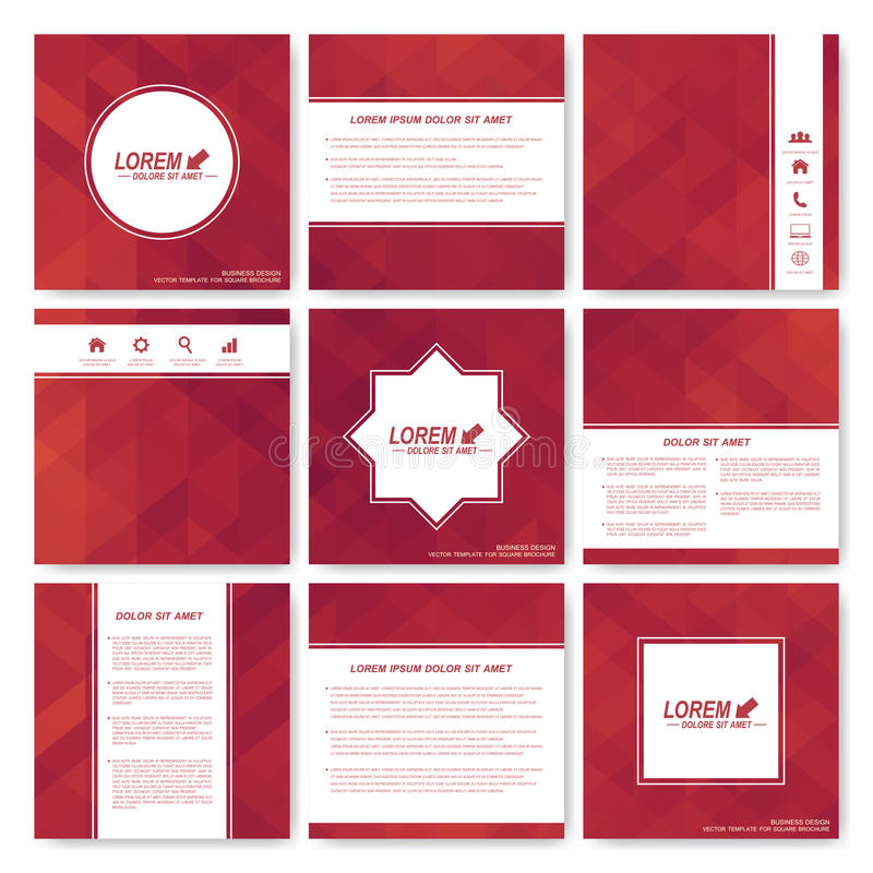 Square set of brochure. Business, science, medicine and technology design template. Cover layout . Background with red royalty free illustration
