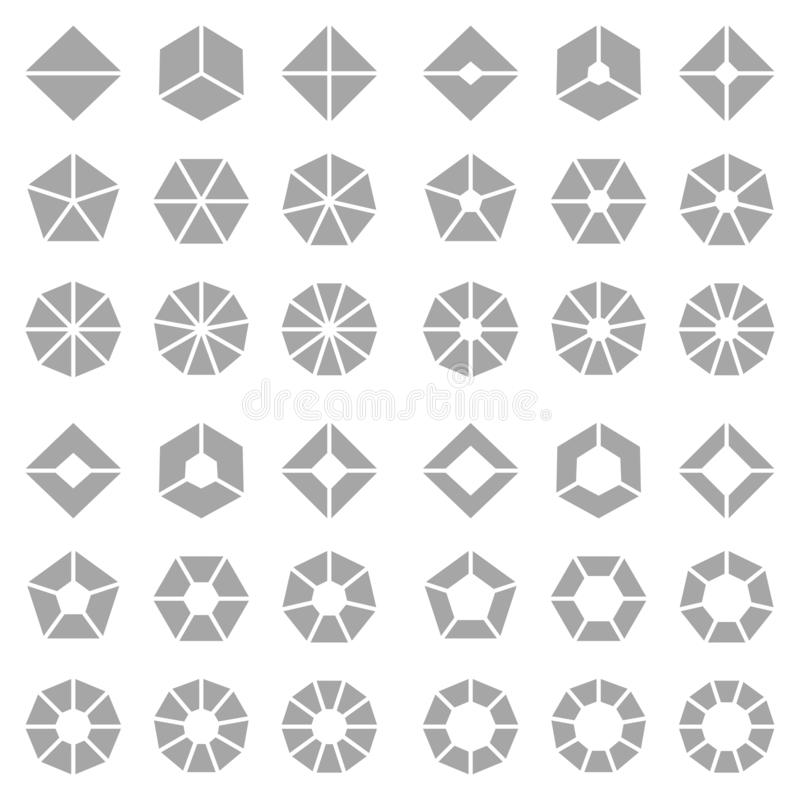 Square Set Of Different Gray Angled Pie Charts vector illustration