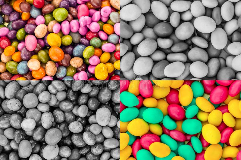 Square set glazed candy colorful contrasted toned gray sector green pink yellow contrast background base stock photo