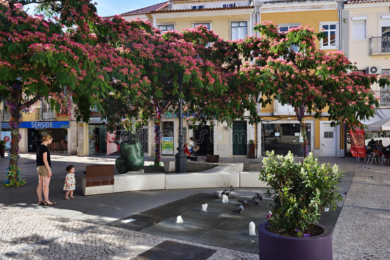 Square in Setubal, Portugal. Setubal, Portugal - June 05, 2017: Street scene in city of Setubal. Situbal is the important center of Portugal`s fishing industry stock photos