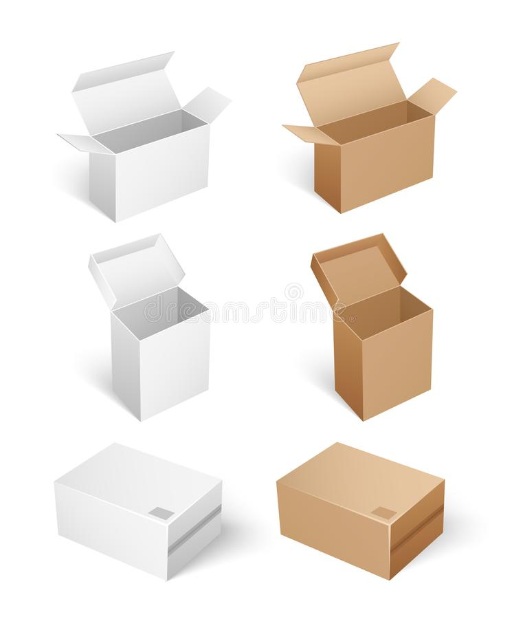 Square Shaped Carton Boxes for Products Keeping. And storage. Compact products for shipping. Package with caps empty containers isolated icons set vector stock illustration