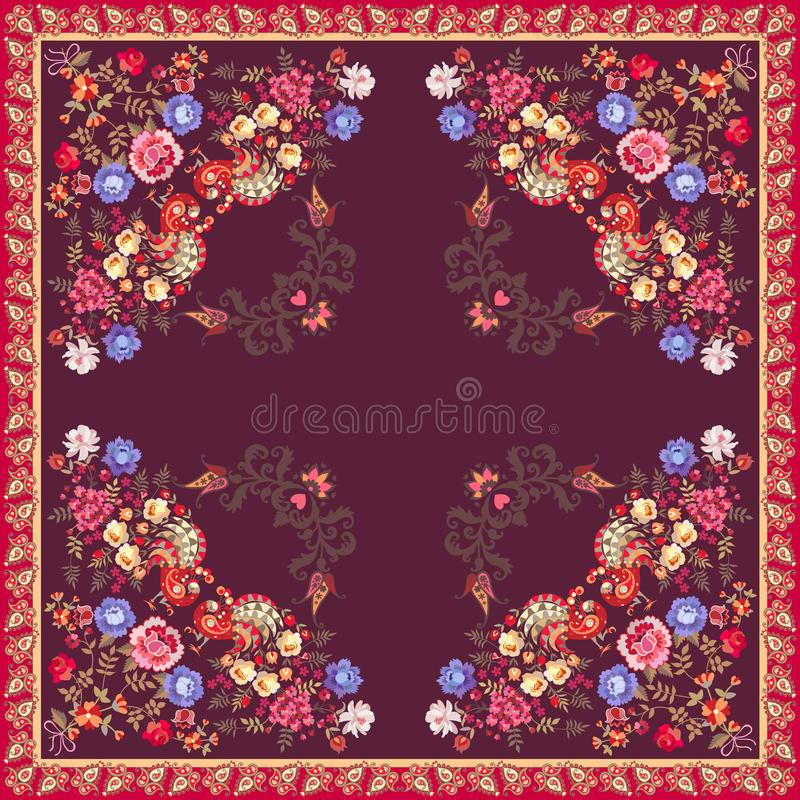 Square shawl or carpet in ethnic style. Fairy peacocks with tails in shape of bouquets of garden flowers. And wings in form of paisley on dark purple background royalty free illustration