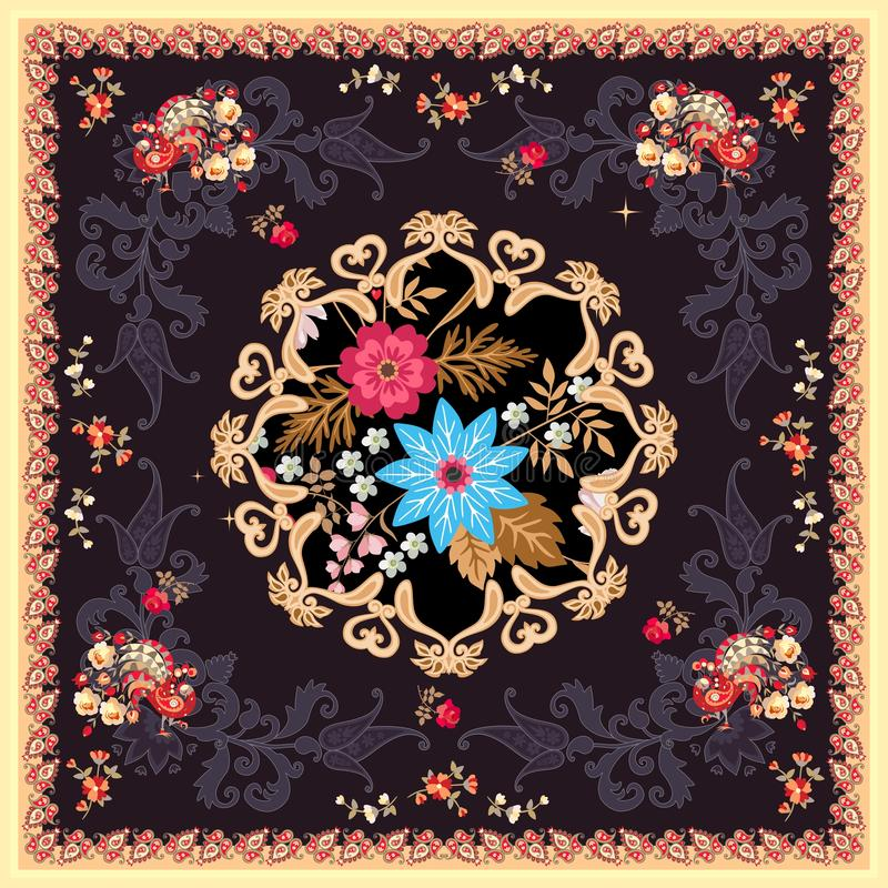 Square silk scarf in indian style with mandala, paisley, flowers and fairy birds on black background. Vector summer design. Ethnic motives. Tea box package royalty free illustration