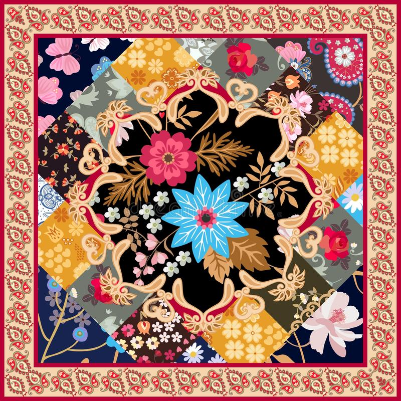Square silk scarf with stylized mandala, patchwork ornament and paisley border in vector. Ethnic oriental motives. Summer design. In retro style vector illustration