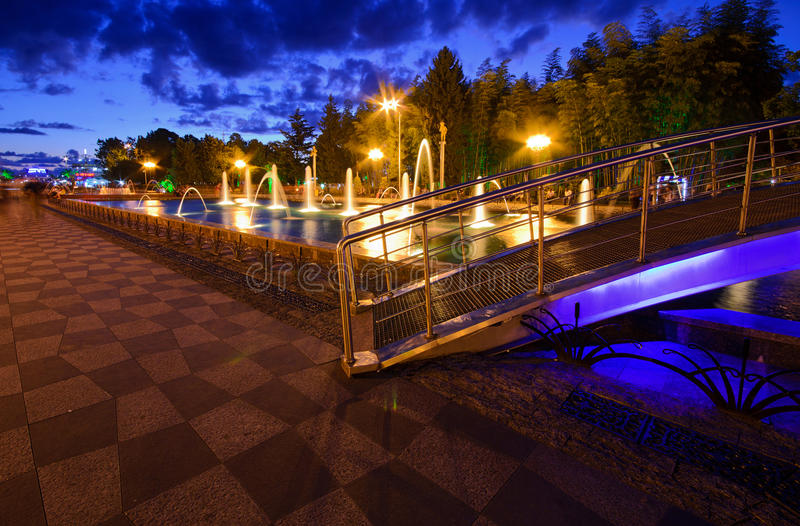 Square singing fountains. Multimedia laser colorful musical show in Batumi - singing fountains royalty free stock images