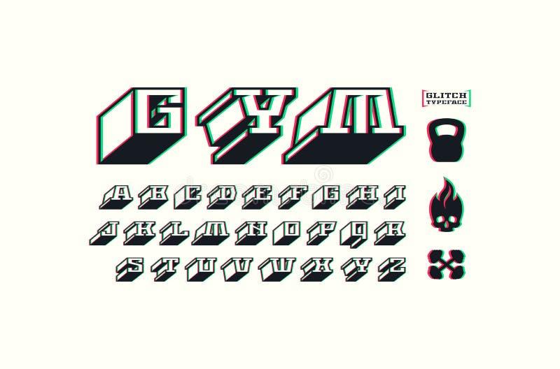 Square slab serif bulk font with glitch distortion effect vector illustration