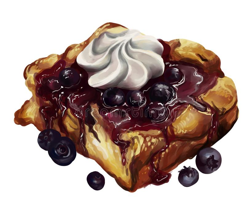 Blueberry tart with fresh blueberries and whipped cream. A square slice of blueberry pie with fresh blueberries around it, and whipped cream topping. Has a royalty free illustration