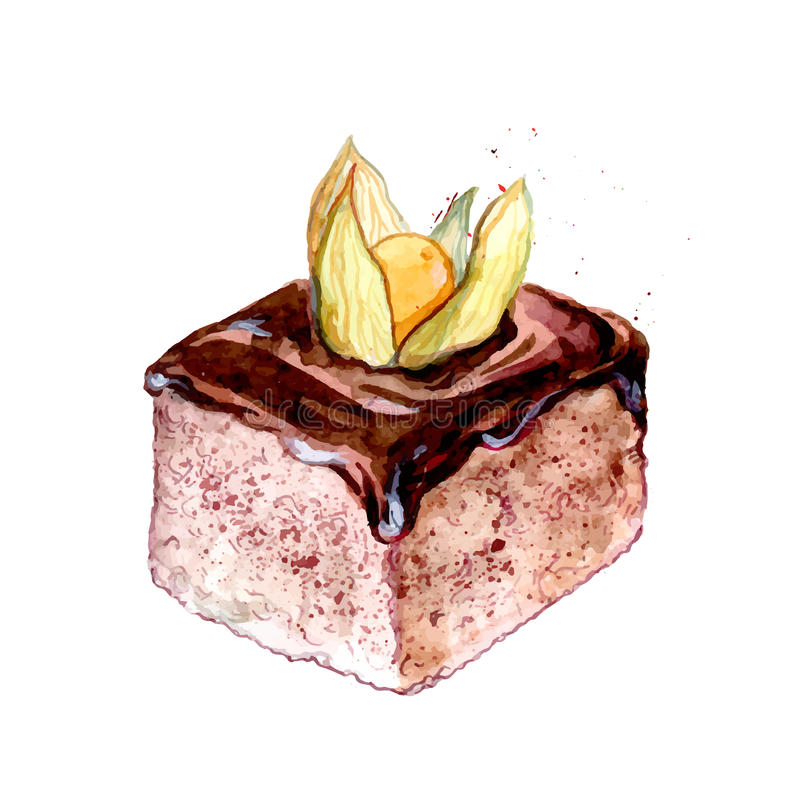 Square slice of cake with chocolate icing decorated with orange ground cherry. Sweet pastry watercolor illustration. Slice of cake with chocolate icing vector illustration