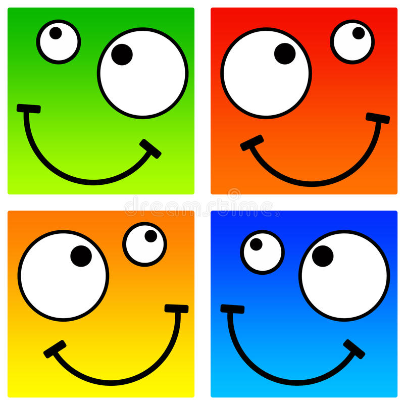 Square smileys. In radiant colors (resolution is high enough for the smileys to be used separately royalty free illustration