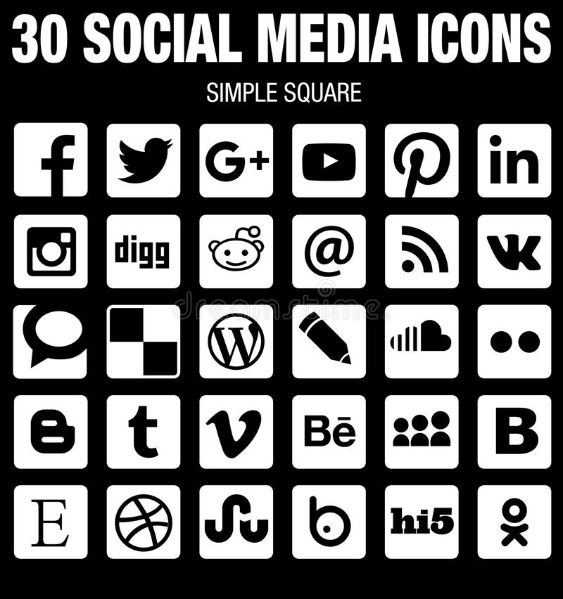 Square social media icons collection flat black and white with rounded corners. 30 square flat Social Media icons collection whith rounded corners, born for