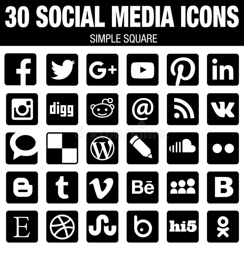 Square social media icons collection with rounded corners - black. 30 black elegant modern square Social Media icons collection with rounded corners, the base